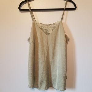 Olive Green Lace Detail Textured Satin Cami
